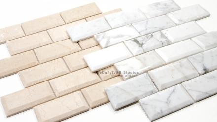 Beveled Marble Brick Mosaic, 2 Colors