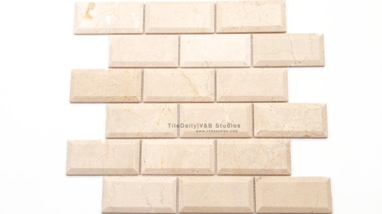 NS0051CM - 2x4 Crema Marfil Beveled Brick Mosaic