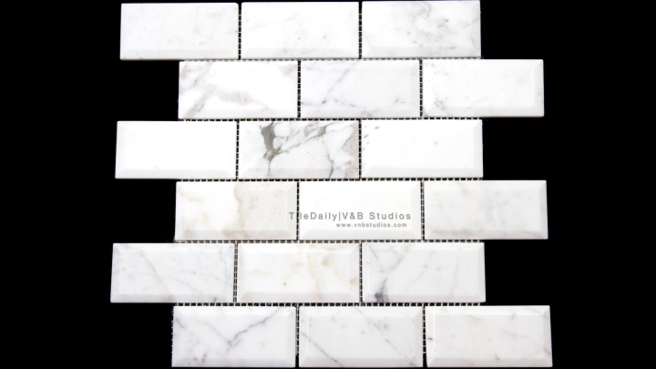 NS0051WC - 2x4 White Carrara Beveled Brick Mosaic