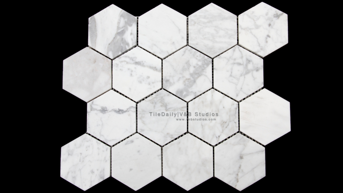"3"" Hexagon Carrara Marble Mosaic Tile"