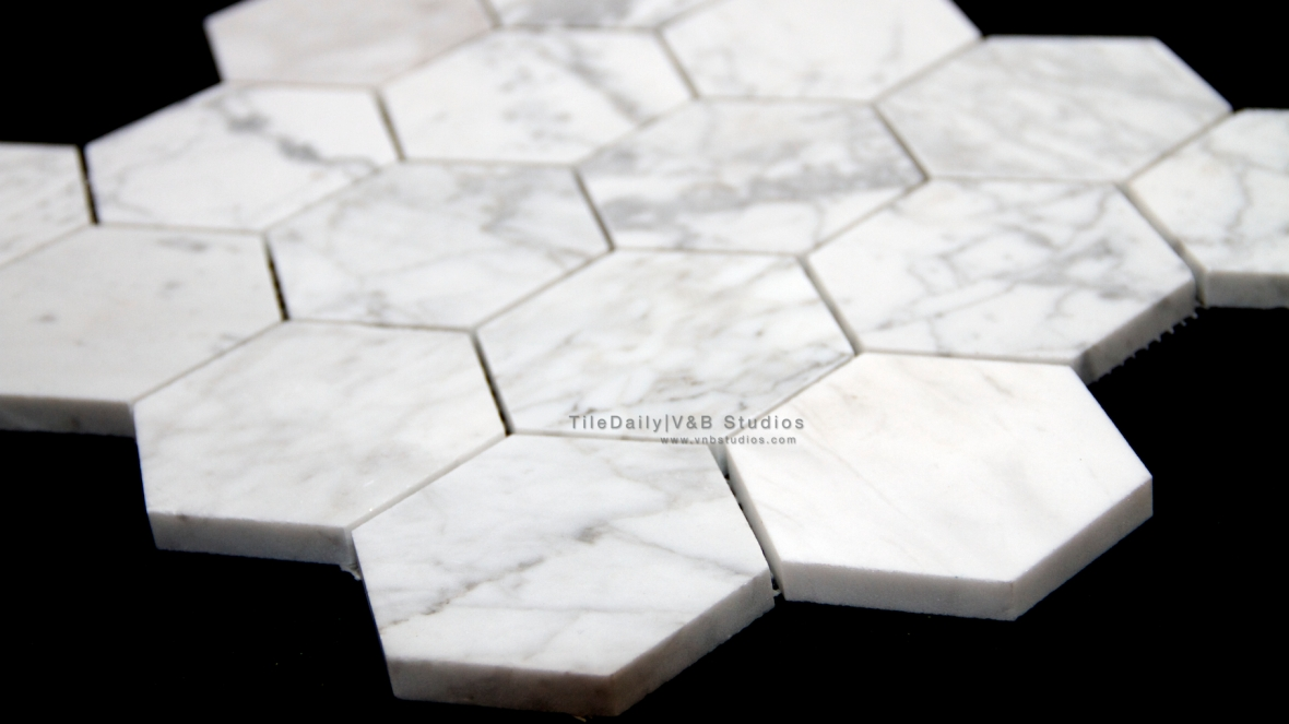 "3"" Cararra Marble Hexagon Mosaic Tile"