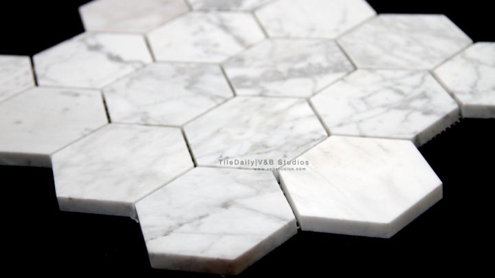 Carrara Marble 3 Inch HexagonMosaic