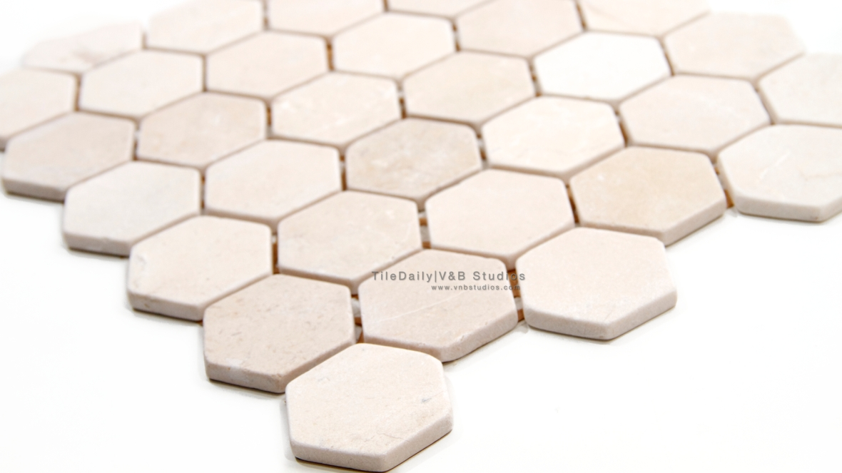 "NS0053T - 2"" Crema Marfil Marble Hexagon Mosaic, Tumbled"