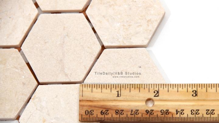 "2"" Crema Marfil Marble Hexagon Mosaic"