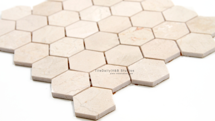 "NS0053P - 2"" Crema Marfil Marble Hexagon Mosaic, Polished"
