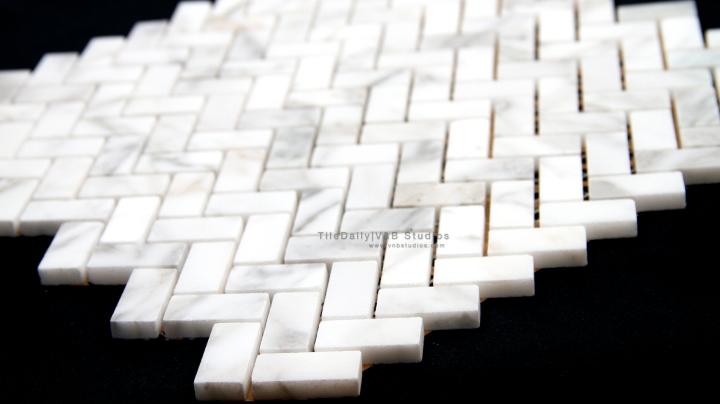 Herringbone White Carrara MarbleMosaic