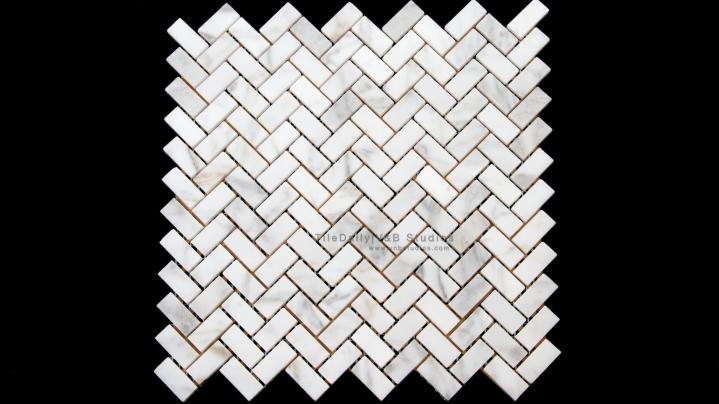 Herringbone White Carrara Marble Mosaic
