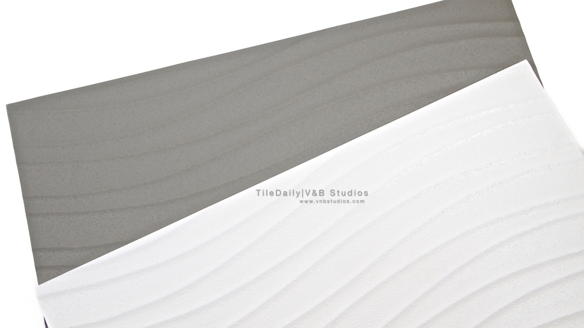 Linear Wave Porcelain Tile Grey And White Tiledaily