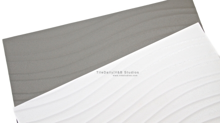 Linear Wave Ceramic Tile, Grey and white 18