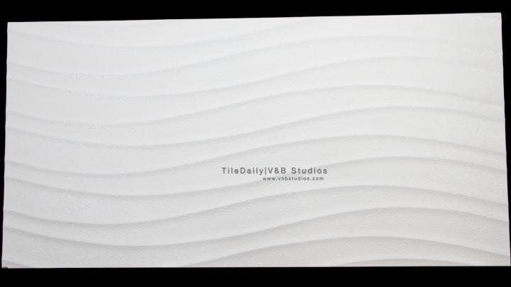 P0056WE - Linear Wave Ceramic Tile, White