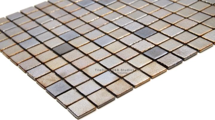 Metallic Square Glass Mosaic, DarkGold