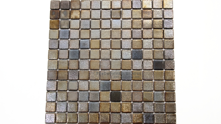 GM0100 - Metallic Square Glass Mosaic, Graphite