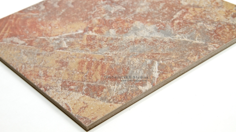 P0056RD - Coarse Slate Porcelain Tile, Red