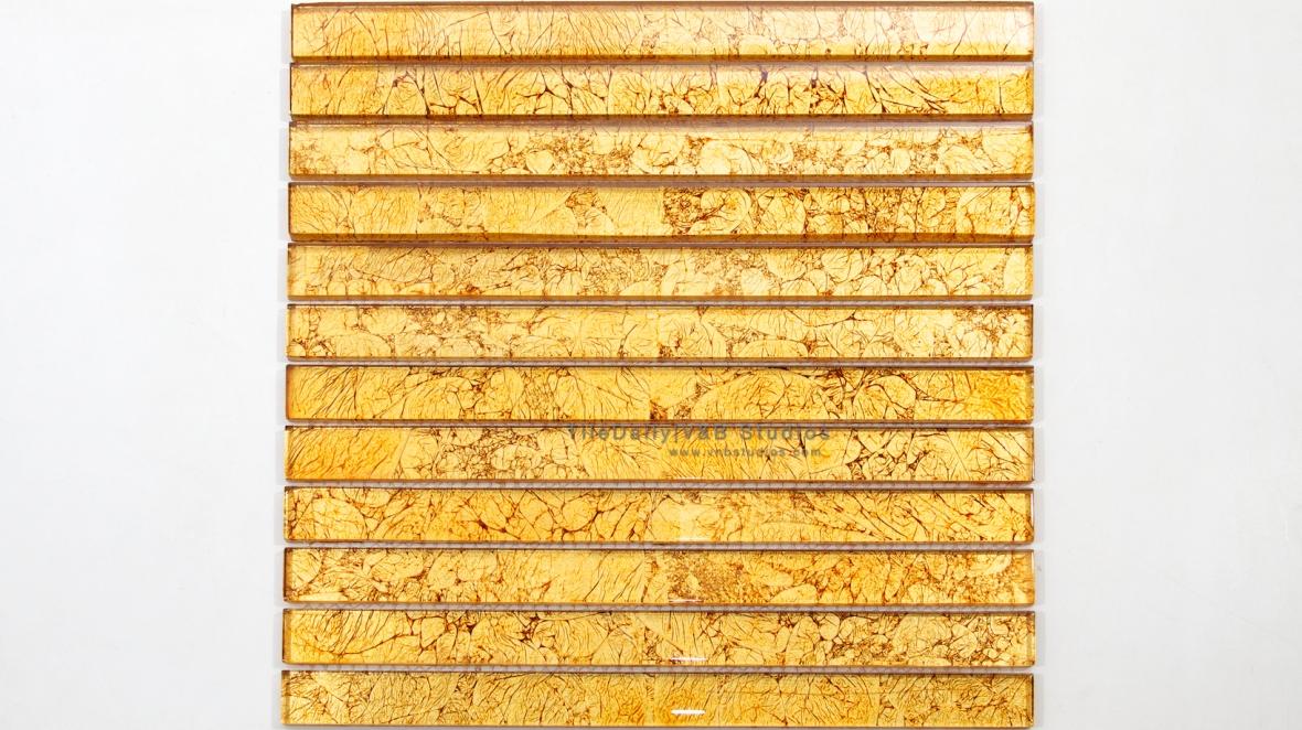 GM0057 - Gold Leaf Glass Bars Mosaic