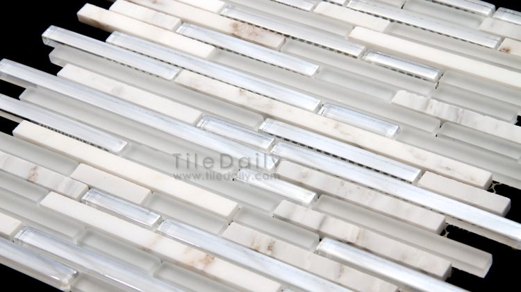 GM0102 - Iridescent Mix Glass and Marble Mosaic, White