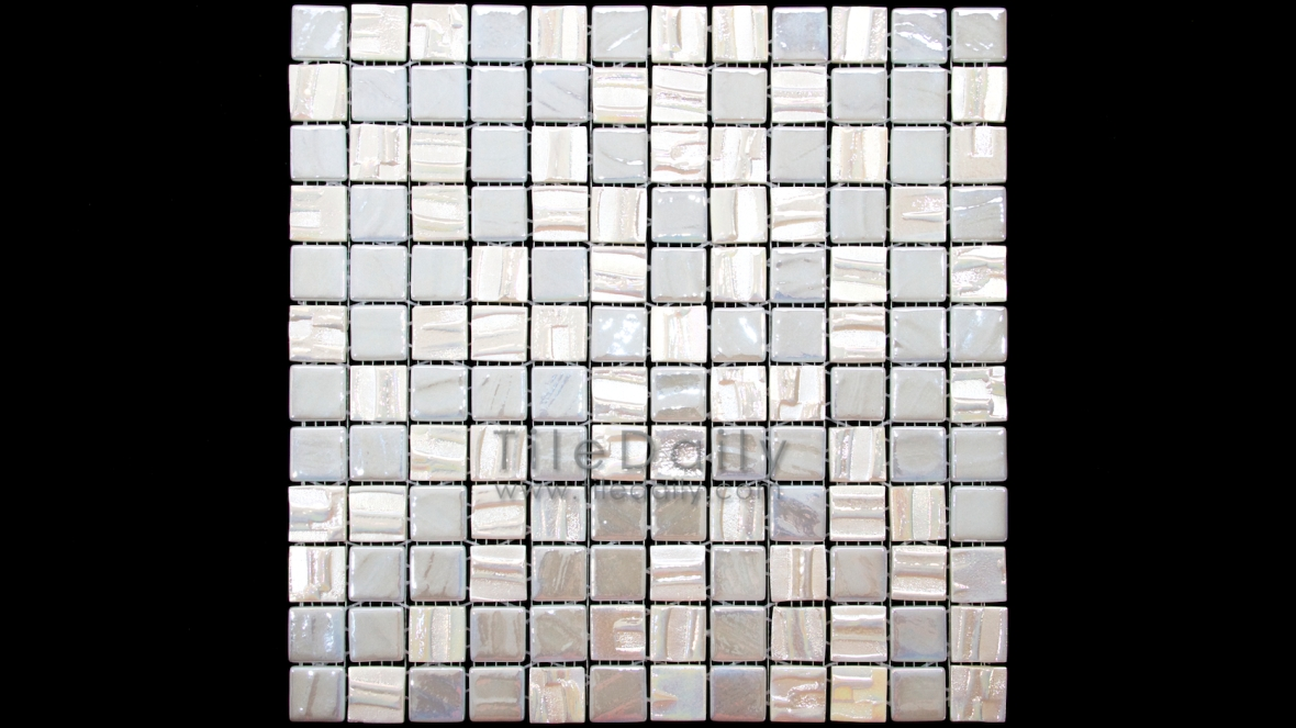 GM0103WE - 1x1 Iridescent Pearl Texture Glass Mosaic, White