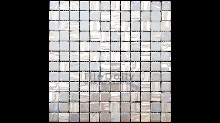 GM0103WE - 1x1 Iridescent Pearl Texture Glass Mosaic, White