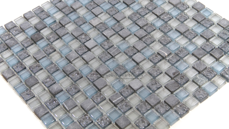 GM0101BE    Marble and Glass Small Square Mosaic, Blue Mix