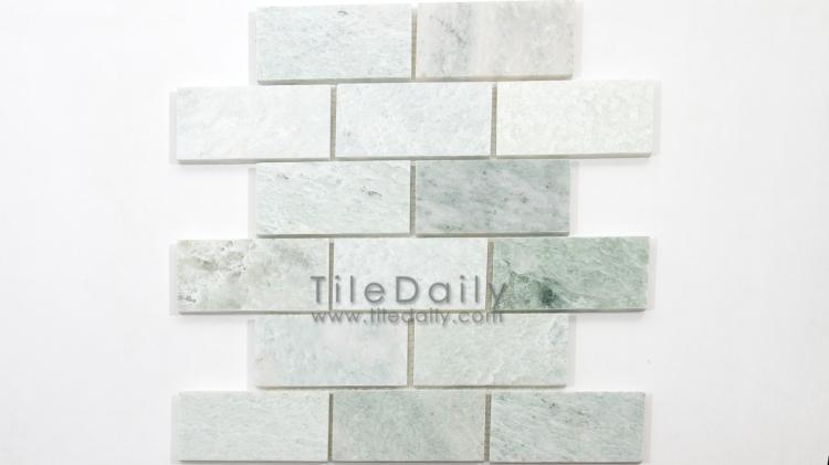 NS0057LGN - 2x4 Ming Green Marble Brick Mosaic