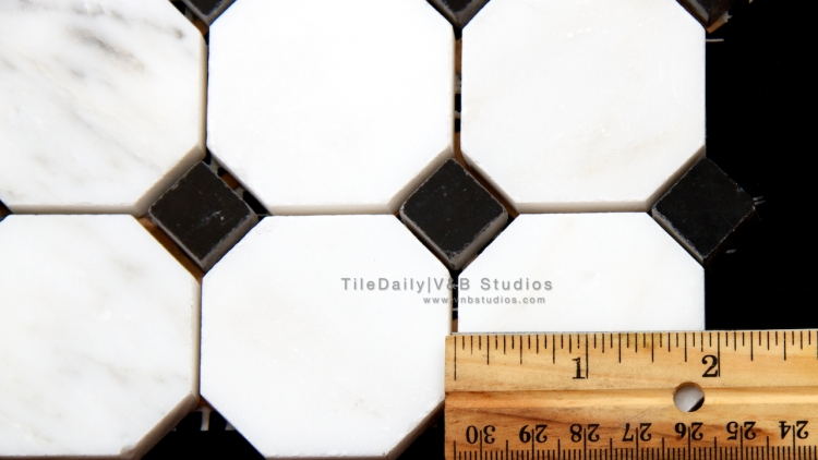 NS0056 - Octagon Marble Mosaic, White Carrara and Nero Black