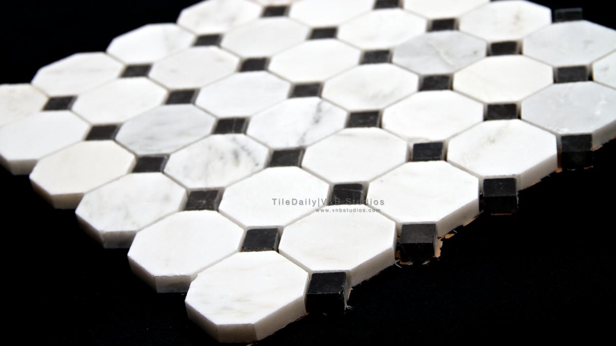 Octagon Marble Mosaic White Carrara And Nero Black