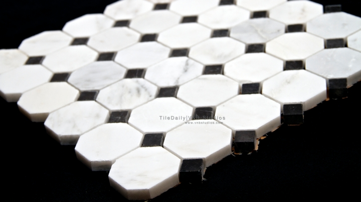 Octagon Marble Mosaic, White Carrara and NeroBlack