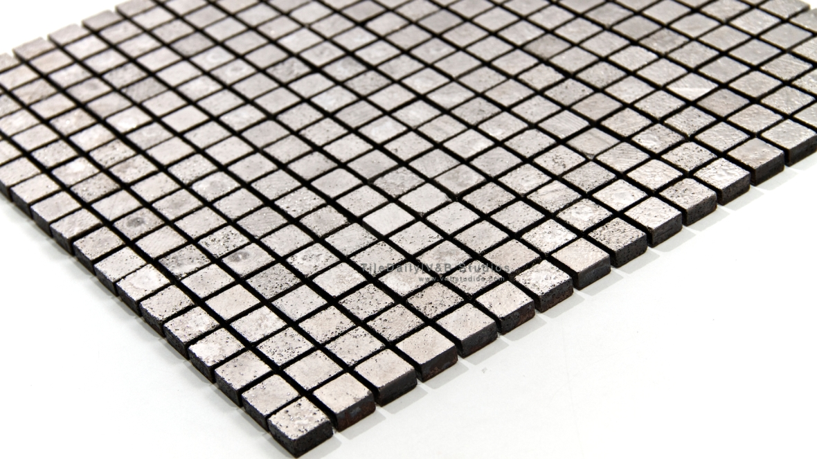 PM0060 Textured Silver Squares Mosaic