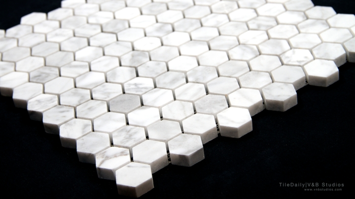 White Carrara Marble Hexagon Mosaic