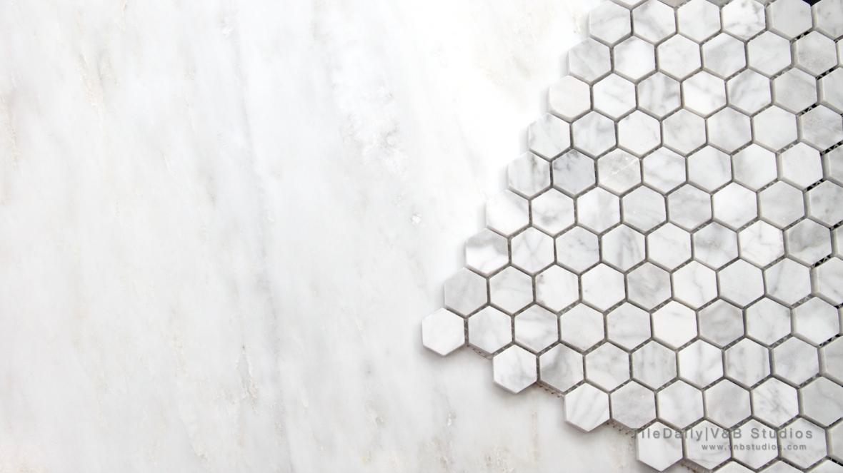 NS0054 - White Carrara Marble Hexagon Mosaic