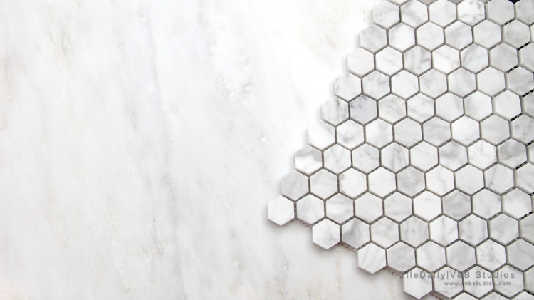 NS0054 - White Carrara Marble Hexagon Mosaic