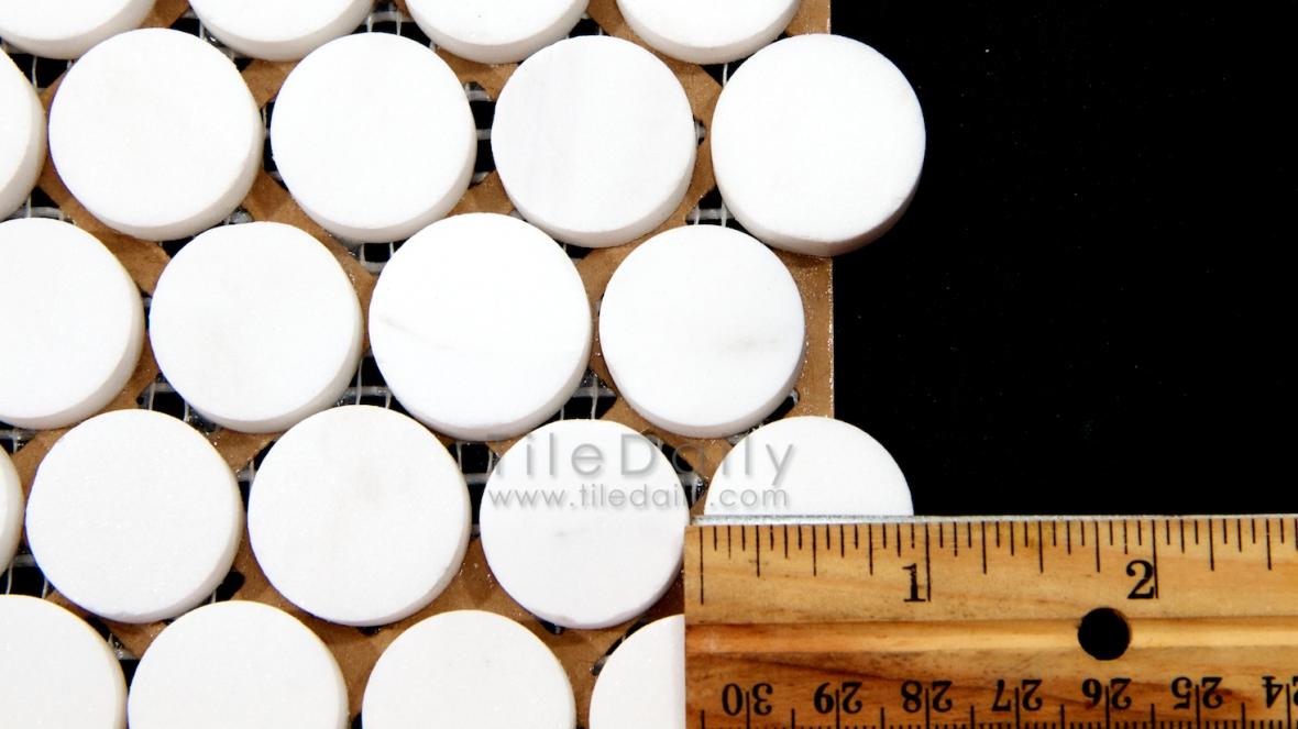 NS0043TW - Penny Round Marble Mosaic, Thasos White