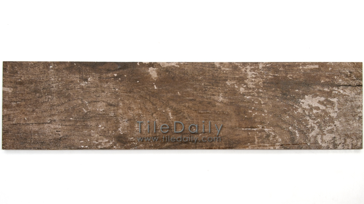 PW0017DBN  Distressed Wood Porcelain Tile, Dark Brown