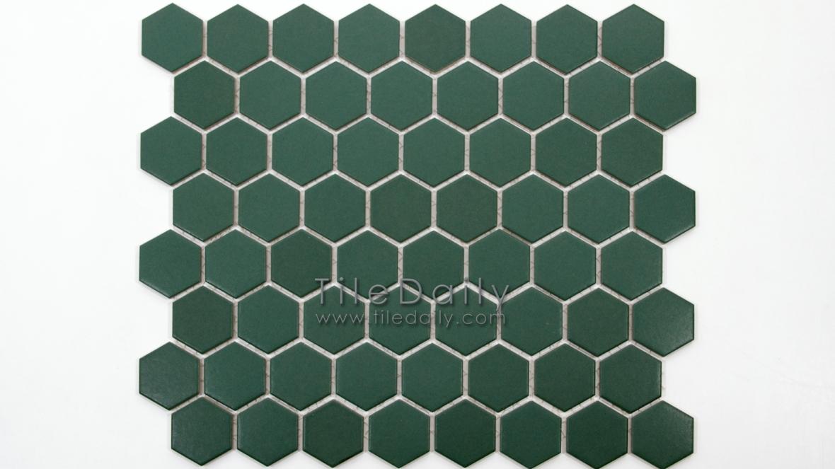 PM0004GN - Hexagon Porcelain Mosaic, Green Matte