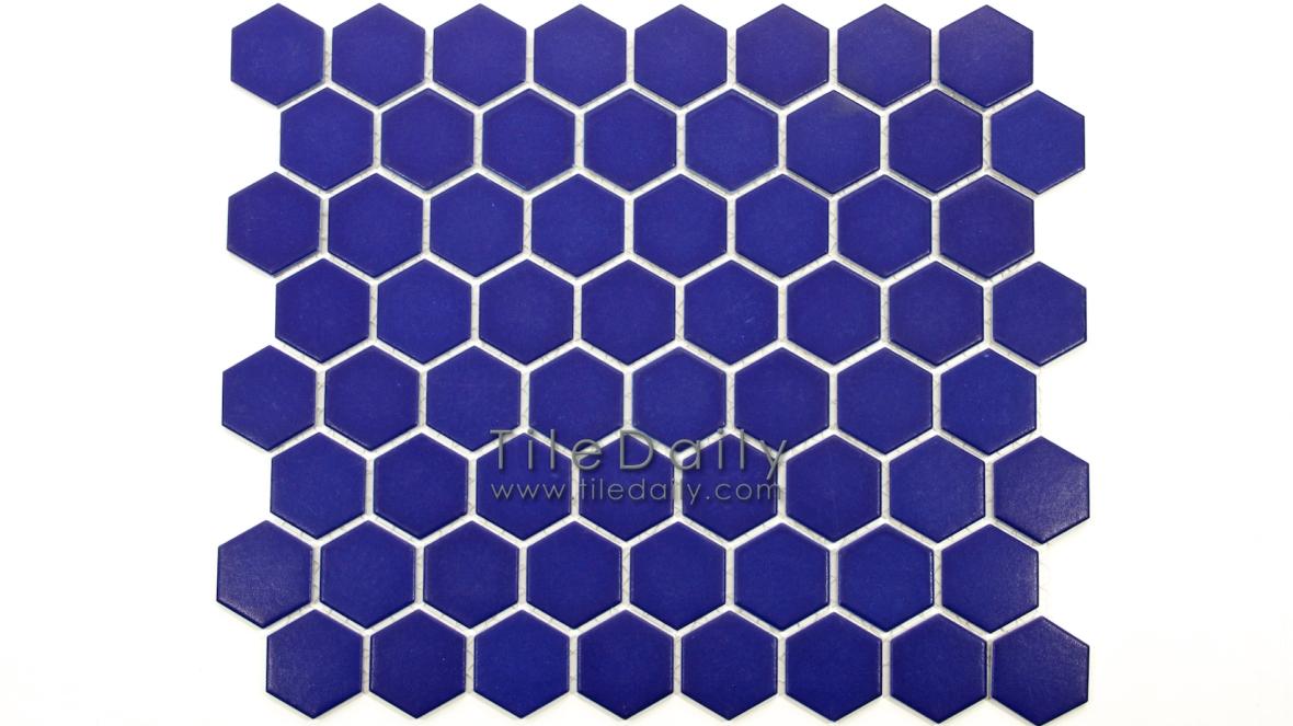 PM0004BE - Hexagon Porcelain Mosaic, Blue Matte