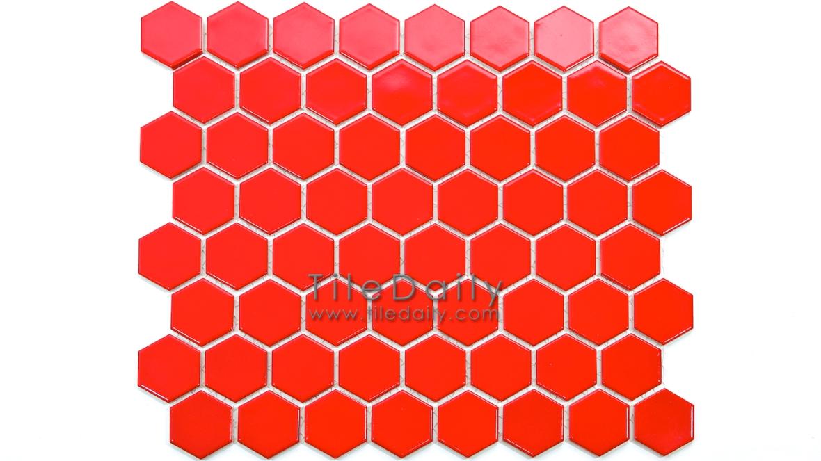 PM0004RD - Hexagon Porcelain Mosaic, Red Semi Gloss
