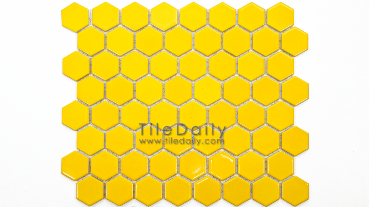 PM0004YW - Hexagon Porcelain Mosaic, Yellow Semi Gloss