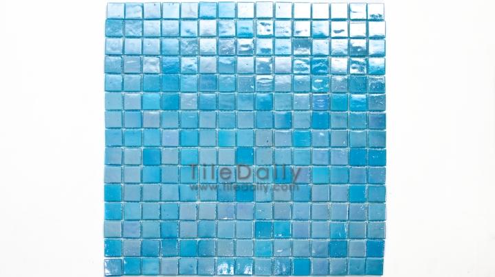 GM0040TE - Iridescent Opaque Glass Mosaic, Turquoise