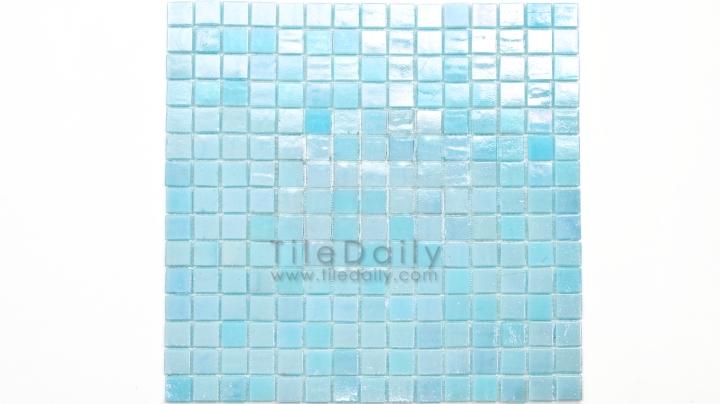 GM0040LBE - Iridescent Opaque Glass Mosaic, Ice Blue