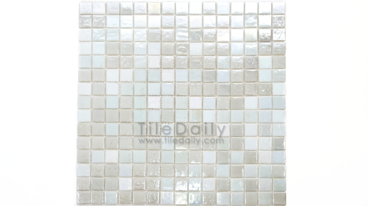 GM0040WE - Iridescent Opaque Glass Mosaic, Pearl White