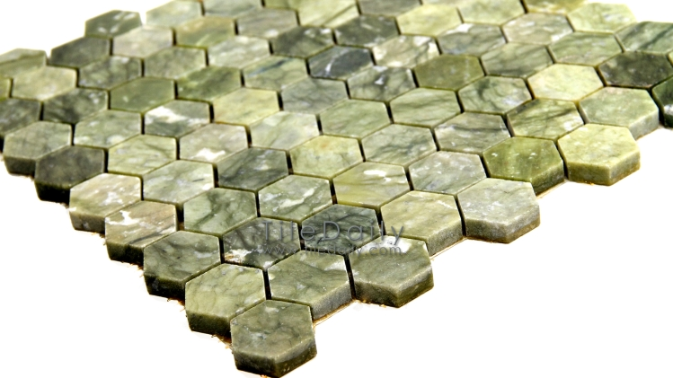 NS0054GN - Jade Green Marble Hexagon Mosaic