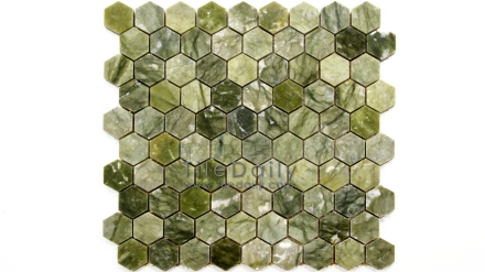 NS0054GN - Jade Green Marble Hexagon Mosaic