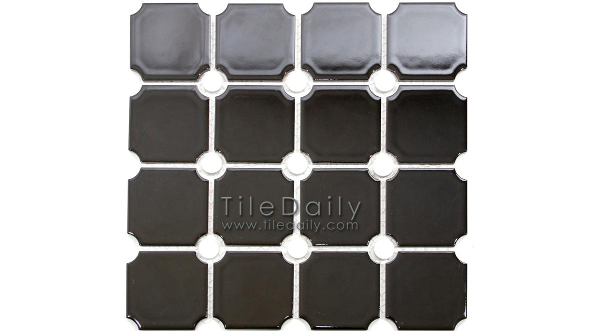 PM0031BK - Penny Octagon Porcelain Mosaic, Black
