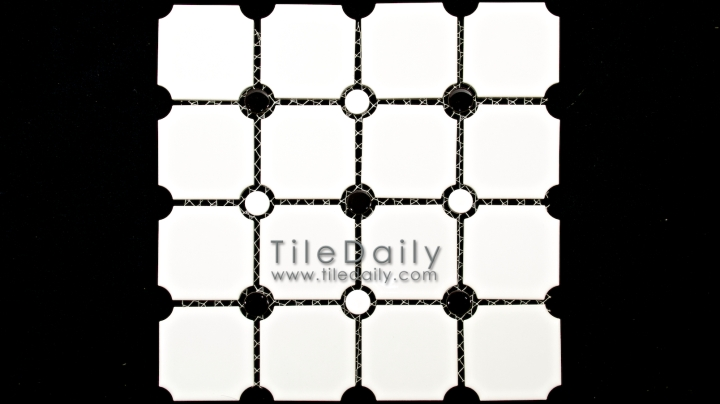 PM0031WE - Penny Octagon Porcelain Mosaic, White