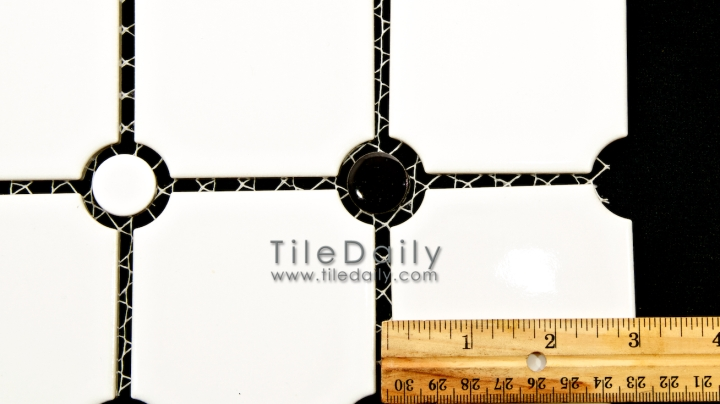 PM0031 - Penny Octagon Porcelain Mosaic, Black and White