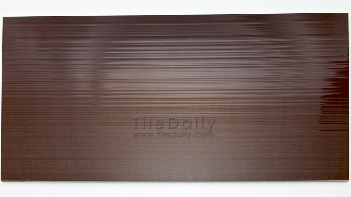 P0061BN  Rippled Lines Ceramic Wall, Brown