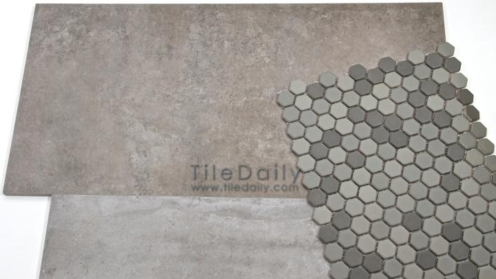 Cement Porcelain Tile and Matte Hex Mosaic