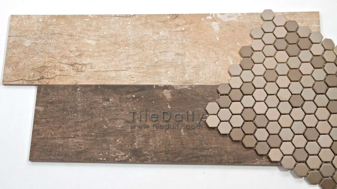 Wood Plank Tile With Matte Hex Mosaic
