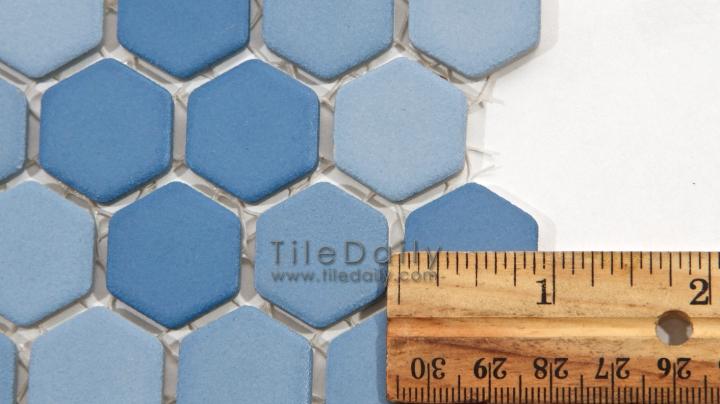 PM0032BE - Matte Hexagon Porcelain Mosaic, Blue
