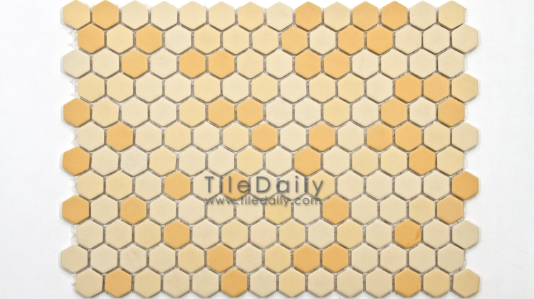 PM0032YW - Matte Hexagon Porcelain Mosaic, Yellow