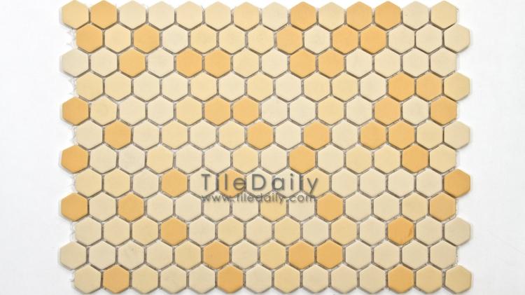 PM0032YW - Matte Hexagon Porcelain Mosaic, Yellow